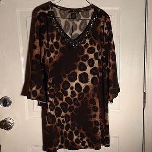 3/$25 Susan Lawrence jeweled color leopard print